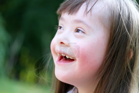 Photo for Portrait of beautiful young girl smiling in the park - Royalty Free Image