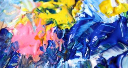 Foto de Closeup fondo de paleta de artista. - Imagen libre de derechos