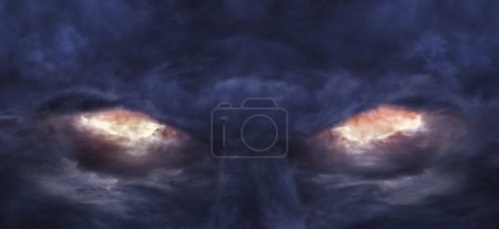 Photo for A picture of stormy clouds that formed the image of scary devil face - Royalty Free Image