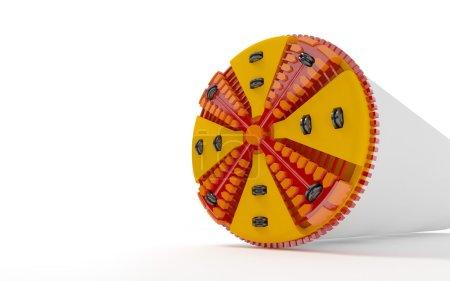 Photo pour Illustration 3D d'une perceuse tunnel sur fond blanc - image libre de droit