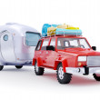 Постер, плакат: Red suv adventure with trailer