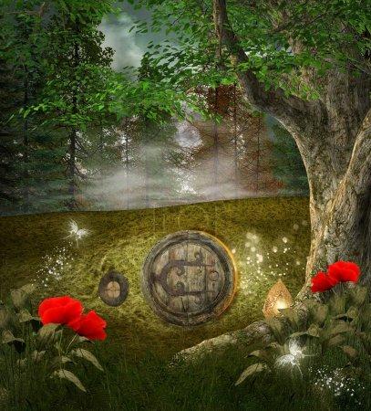 Photo pour Série de songe d'une nuit rêve - maison secrète elfes - image libre de droit