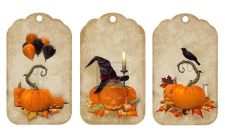 Pumpkins vintage postcards, labels, tags