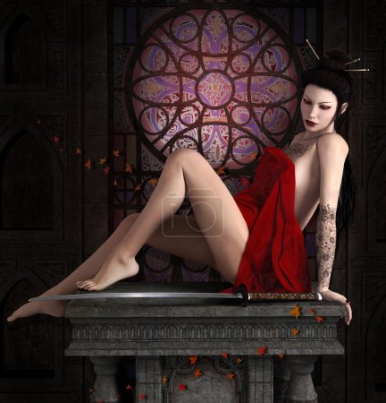 Oriental beauty with sword