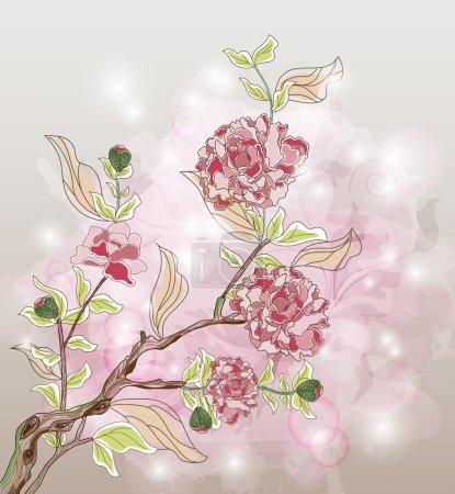 Peony watercolor branch