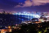 pattaya city at morning bird eye view