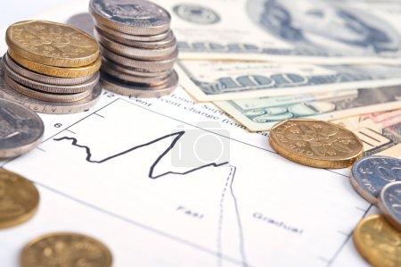 Photo pour Diagramme d'affaires sur les rapports financiers avec pièces et dollars . - image libre de droit