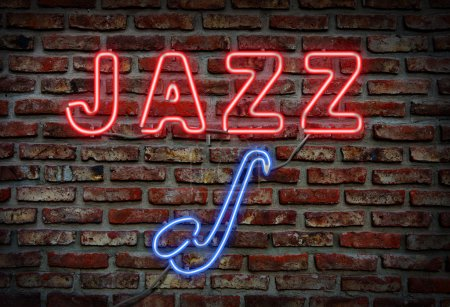 Glowing neon jazz sing on a brick wall....