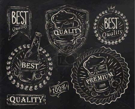 Illustration pour Eléments de design vintage sur le thème de la qualité de la bière stylisés sous un dessin à la craie sur le thème de la bière sur fond noir (style rétro, mousse, rubans, brindilles, houblon, graphismes ) - image libre de droit