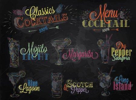 Illustration pour Ensemble de menu cocktail dans un style vintage stylisé dessin de craie de couleur sur un tableau noir de l'école, Cocktails avec illustré, le bleu lagune margarita Scotch - image libre de droit