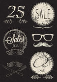 Label design elements stylized shabby frame signs mustache forks spoons