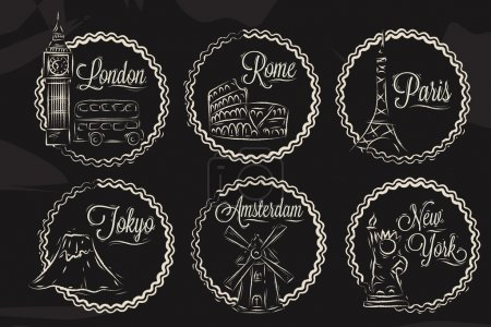 Photo pour Icônes avec des villes du monde, Londres, New York, Rome, Amsterdam, Tokyo, Paris, dessin stylisé à la craie sur un tableau noir, un cadre en cadre rond sur un fond noir . - image libre de droit