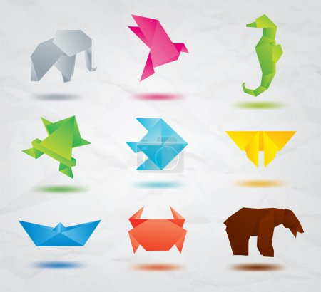 Set of origami animals symbols: elephant, bird, sea horse, fish, butterfly, bear, crab, fish