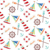 Pattern on the marine theme with a lighthouse ships sailboats anchor oars wheel and bottle with a message