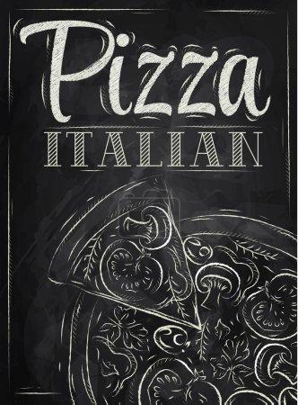 Illustration pour Affiche avec pizza et une tranche de pizza avec l'inscription pizza italienne stylisé dessin à la craie sur le tableau noir - image libre de droit
