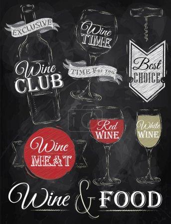 Illustration pour Ensemble de vin, club de vin, vin rouge, vin blanc, verre à vin et stylisé pour le dessin avec craie de rouge, blanc sur le tableau noir. Vecteur - image libre de droit