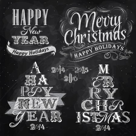 Photo for Merry Christmas and New Year lettering collection of Christmas tree from letters stylized for the drawing with chalk on the blackboard. Vector - Royalty Free Image