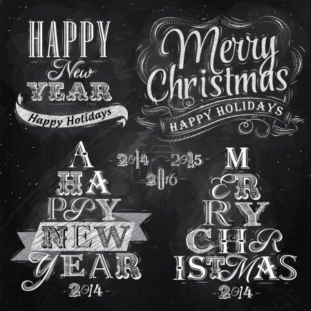 Foto de Feliz Navidad y año nuevo Letras colección del árbol de Navidad de letras estilizadas para el dibujo con tiza en el pizarrón. Vector - Imagen libre de derechos