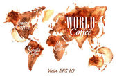 World Map of coffee drawn pour coffee with the inscription arabica coffee Robusta coffee with splashes and blots prints Cup vector