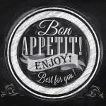 Bon appetit! enjoy! Best for you lettering on a pl...