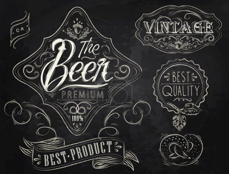 Illustration pour Éléments vintage stylisés sous un dessin à la craie sur le thème de la bière sur fond noir (style rétro, motifs, glands, inscriptions, rubans, brindilles, houblon, graphismes ) - image libre de droit