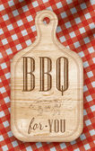 Poster with meat cutting loft wood board lettering BBQ
