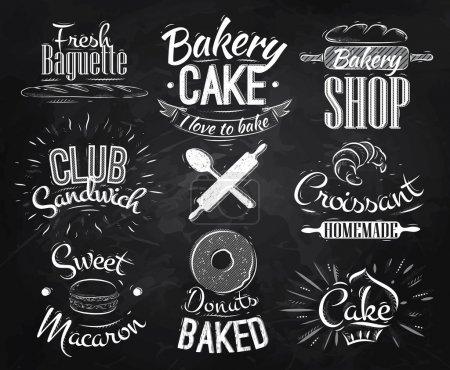 Illustration pour Caractères de boulangerie dans un style rétro lettrage beignets, croissants, macaron, dessin stylisé à la craie sur tableau noir - image libre de droit