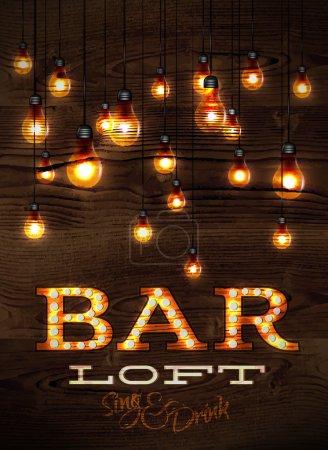 Illustration pour Vintage bar affiche loft lumières incandescentes sur fond bois dans des styles rétro - image libre de droit
