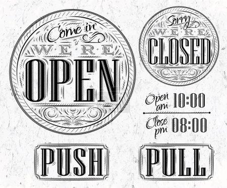 Set vintage ouvert fermé