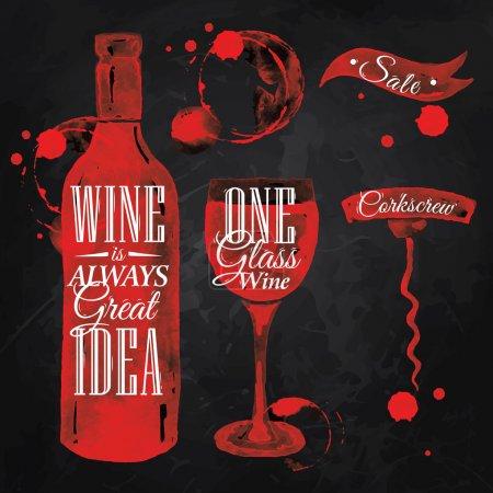 Illustration pour Pointeur dessiné pour le vin avec l'inscription vin est toujours une bonne idée avec éclaboussures et taches impressions bouteille, de vin, verre, un tire-bouchon sur le tableau noir. - image libre de droit