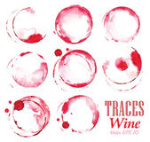 Set traces glass draw pour wine splashes and spot print