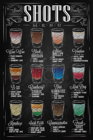 Illustration for Set of Shots menu with a shots drinks with names in vintage style stylized drawing with chalk on chalkboard. Lettering - Royalty Free Image