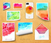 Vector sheets of paper wrapped envelope cover from the phone corporate style template design with watercolor stained with lettering kraft background