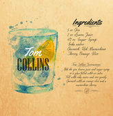 Tom Collins cocktails drawn watercolor blots and stains with a spray including recipes and ingredients on the background of kraft