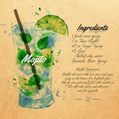 Mojito cocktails watercolor  kraft