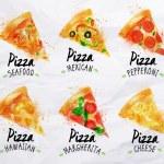 Постер, плакат: Pizza watercolor set