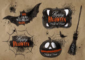 Halloween set drawn halloween symbols pumpkin broom bat spider webs lettering and stylized drawing in kraft paper