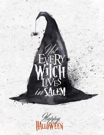 Witch hat halloween poster lettering not every wit...