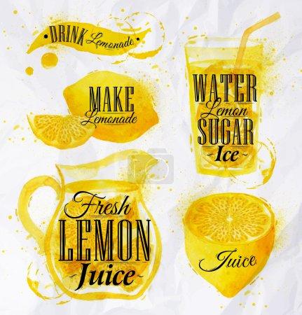 Illustration pour Pointeur dessiné versez limonade lettrage boisson limonade, faire de la limonade, jus de citron frais, eau citron sucre glace, avec éclaboussures et taches impressions bouteille, de vin, verre, un tire-bouchon. Vecteur 10 - image libre de droit