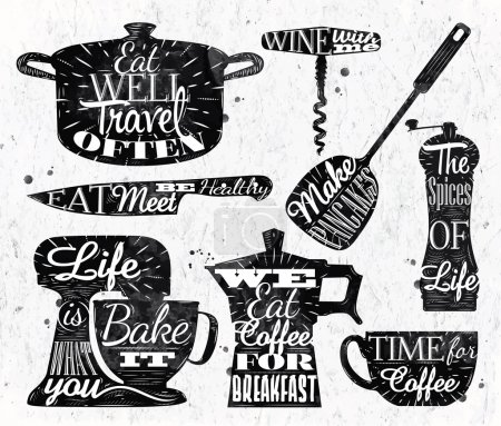 Illustration for Kitchen symbol in retro vintage style lettering pan cup, knife, mixer, - Royalty Free Image