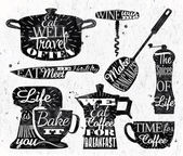 Kitchen symbol in retro vintage style lettering pan cup knife mixer