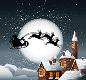 Christmas Illustration of Santa and his reindeer on full moon background with snowy town
