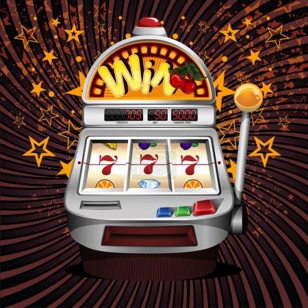 Illustration pour Une machine à sous de fruit de vecteur avec la cerise gagnant sur sept . - image libre de droit