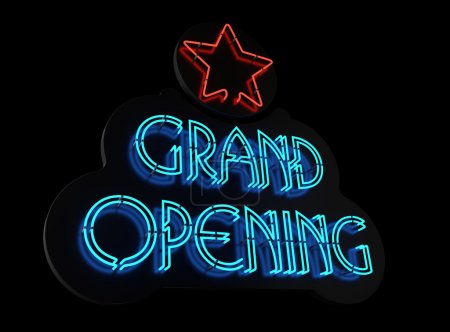 Photo for Neon Grand Opening sign on black - Royalty Free Image