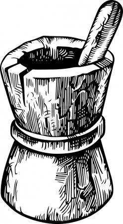 Illustration for Wooden pounder with pestle - Royalty Free Image