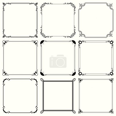 Illustration for Set of nine decorative frames - Royalty Free Image