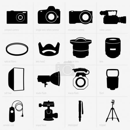 Illustration pour Ensemble de matériel photo - image libre de droit