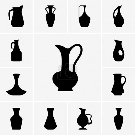 Set of jug silhouettes...