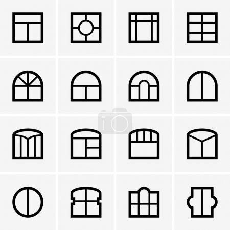 Illustration for Set of window icons - Royalty Free Image