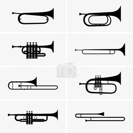 Set of eight trumpets...